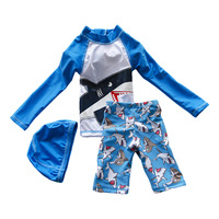 2-10 jaar Jongen Zomer Zwemmen Pak Twee Stukken Met hoed Strand Cartoon Peuter Kids Badmode Rush Guards Kofferbak Shorts S2076