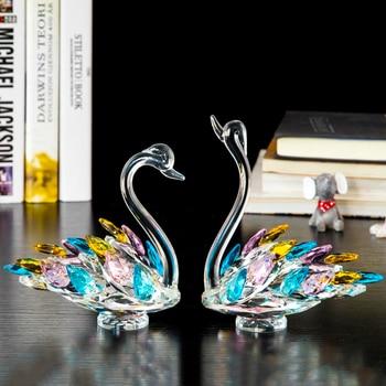 Famosa marca de cristal hecho a mano Cisne estatuilla regalo artesanía adornos figuras casa decoración del banquete de boda, regalos de recuerdo
