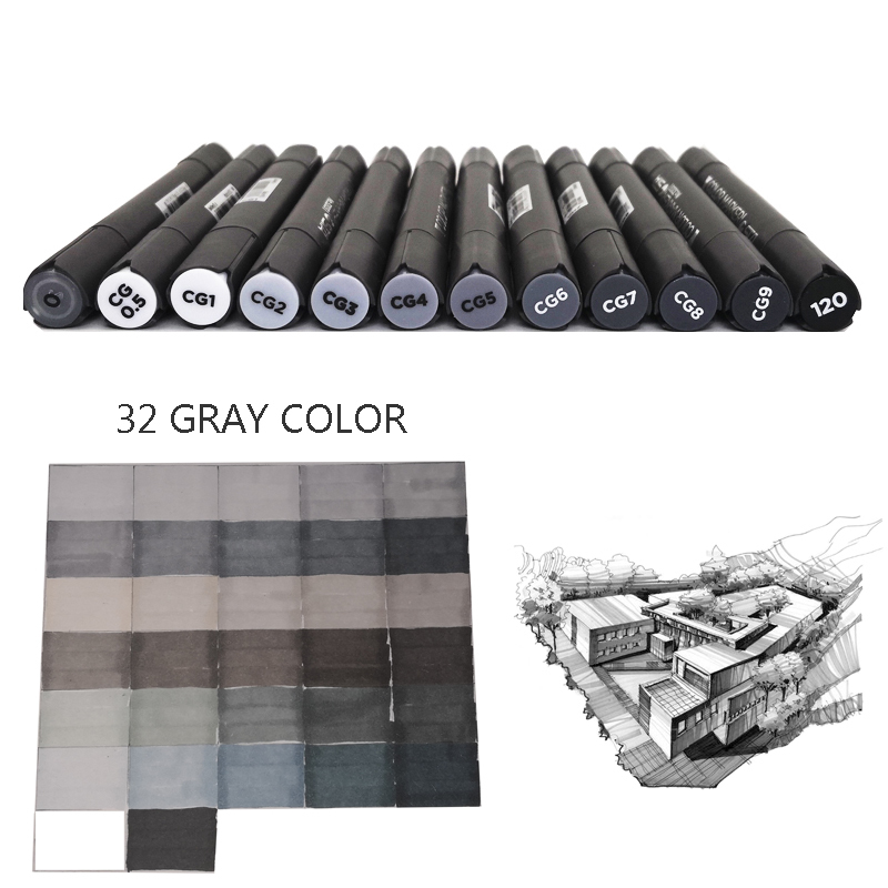 Grey Colors Art Markers, 32 Gray Colors