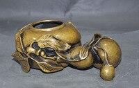 Свадебные украшения 7 Старый китайский Бронзовый Богатство фу bat Тыква Благоприятный Лаки статуя пера мыть черепок