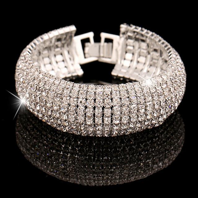 Fashion Charm Women Full Crystal Rhinestone Cuff Bracelet Bangle Bling Wristband Women Wedding Bridal Bracelet Jewelry Gift