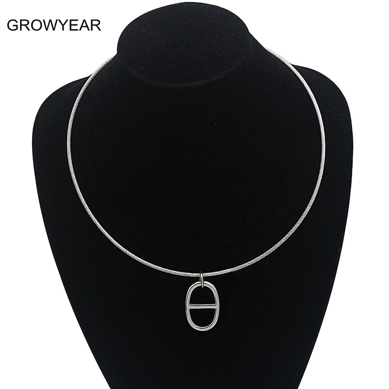 40e714c0137e Alambres cordón Acero inoxidable colgante collar mujer moda color plata  joyería para vestir el envío libre