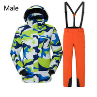 Зимние уличные Для Мужчин's Для женщин лыжный костюм теплый ветрозащитный износостойкие лыжная куртка + лыжные брюки унисекс для Размеры S-XXL