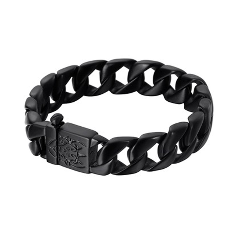 Qiaonitu Thick Chain Solid Gold Black Stainless Steel Mens