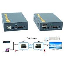 Высокое качество 500ft сети USB клавиатура Мышь KVM extender по ip tcp 1080 P USB HDMI KVM ИК Extender 150 м через RJ45 CAT6/7 кабель