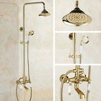 Shower Faucets Gold Brass Bathroom Shower Mixer Tap Faucet Set Rain Shower Head Round Wall Mounted Bathtub Faucet agf377
