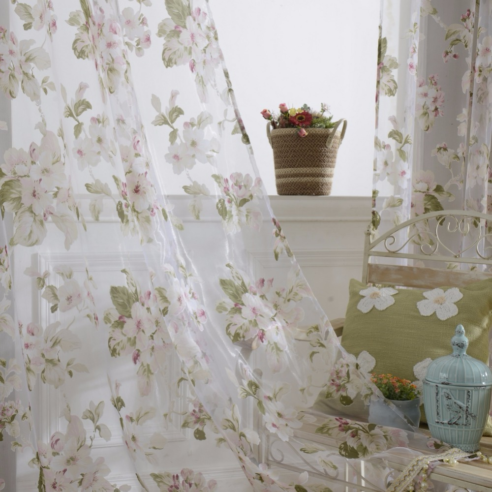 Burnout Cherry Blossom Tulle Voile Curtains French Window Panel Drapes Room  Divider Drape Floral Tulle Scarfs