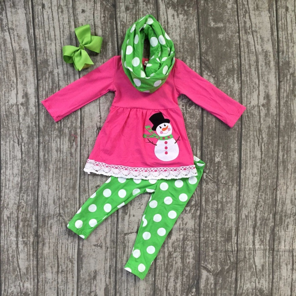 snowman Fall/Winter Christmas outfits baby hot pink 3 pieces scarf polka dot boutique children clothes cotton match clip bow polka dot baby girls clothes backless flounced kid girls rompers jumpsuit playsuit one pieces outfits 0 18m blue pink purple