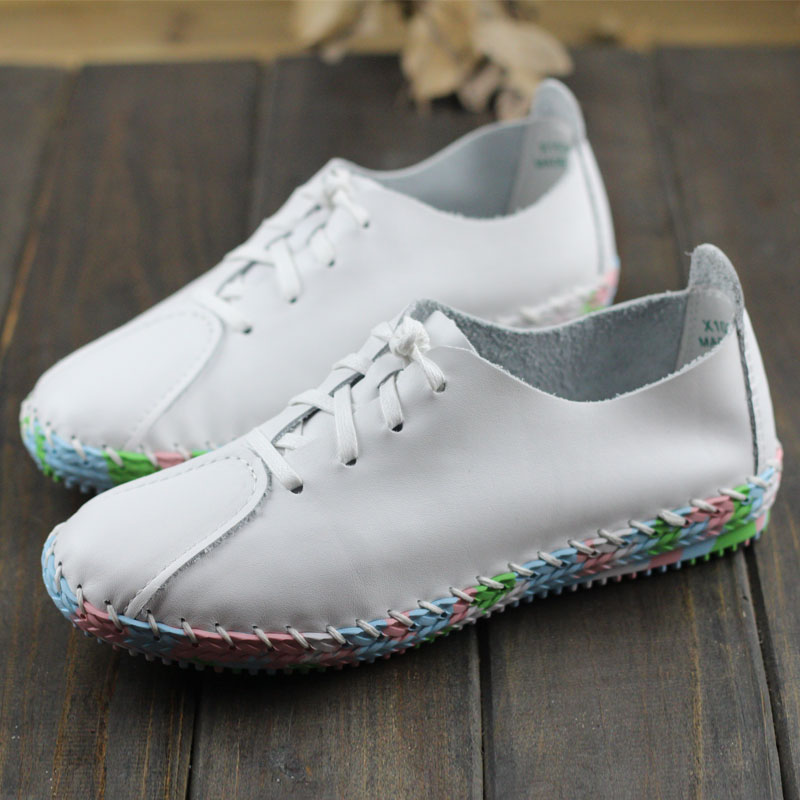 Women White Pink Flat Shoes Hand sewed Genuine Leather Lace up Flats Colorful Rubber Sole Ladies