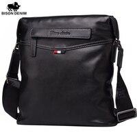 BISON DENIM Fashion Luxury Brand Men Bag Genuine Leather One Shoulder Crossbody Men Messenger