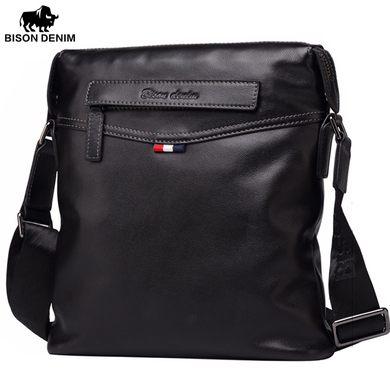 BISON DENIM fashion luxury brand men bag genuine leather one shoulder crossbody men messenger сумка bison denim n1157 bis0n denim