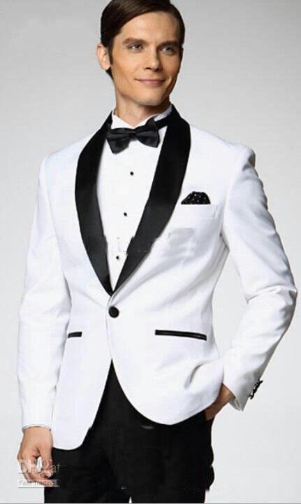 FREE White Jacket With Black Satin Lapel Groom Tuxedos/white Suit Men/Groomsmen Best Man Suit Mens Wedding Suits/male Suit