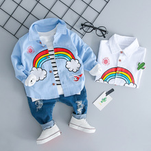 купить 2019 New Children Clothing Sets Autumn Baby Girl Boy Clothes Suits Rainbow Shirt Holes Jeans Infant Casual Kid Clothes Suits по цене 717.09 рублей