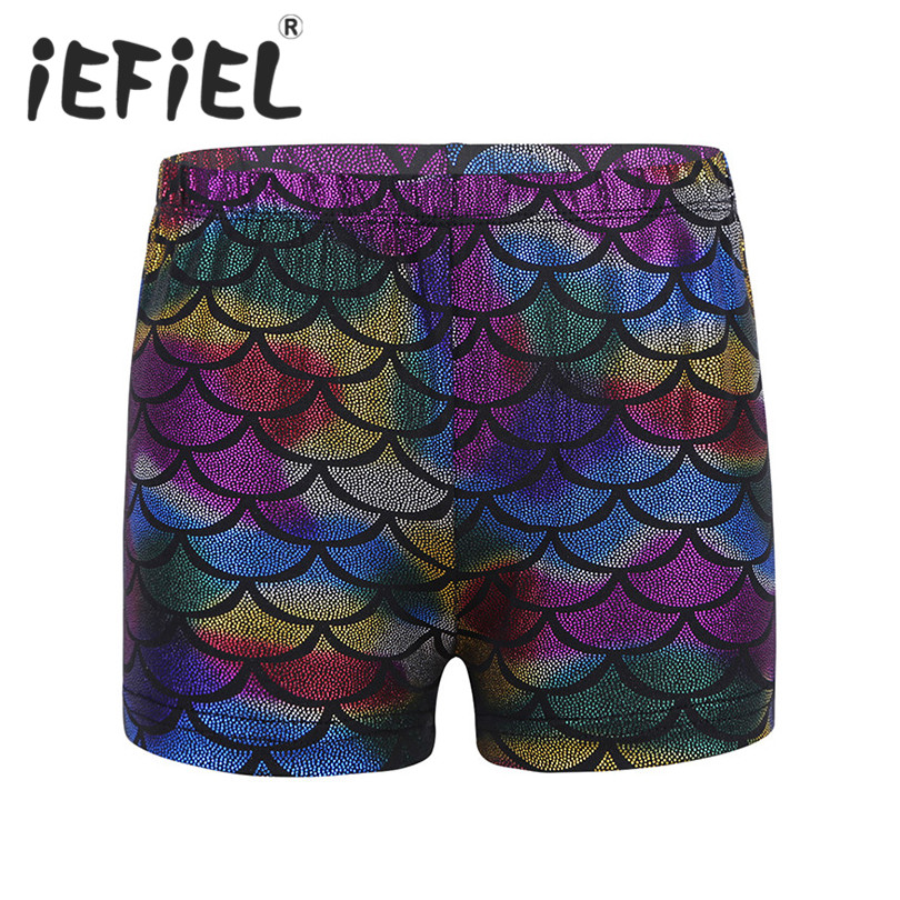 iEFiEL Children Kids Girls Shiny Mermaid Scales Printed Dancing Performance Shorts Bottoms for Sports Gymnastic Workout