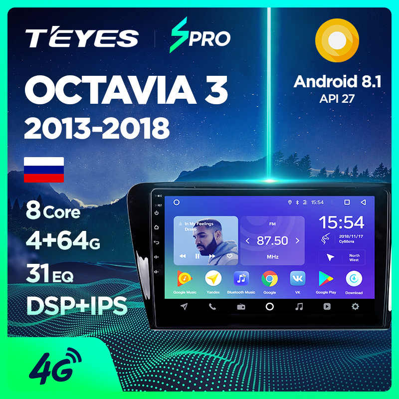 TEYES SPRO Voor Skoda Octavia 3 A7 2013 2014 2015 2016 2018 Auto Radio Multimedia Video Player Navigatie GPS Android 8.1 Geen 2din