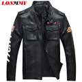LONMMY M-4XL Leather jacket men coat PU Suede Multi-pocket Military style Casual Bomber jacket coat man Army 2016 autumn winter
