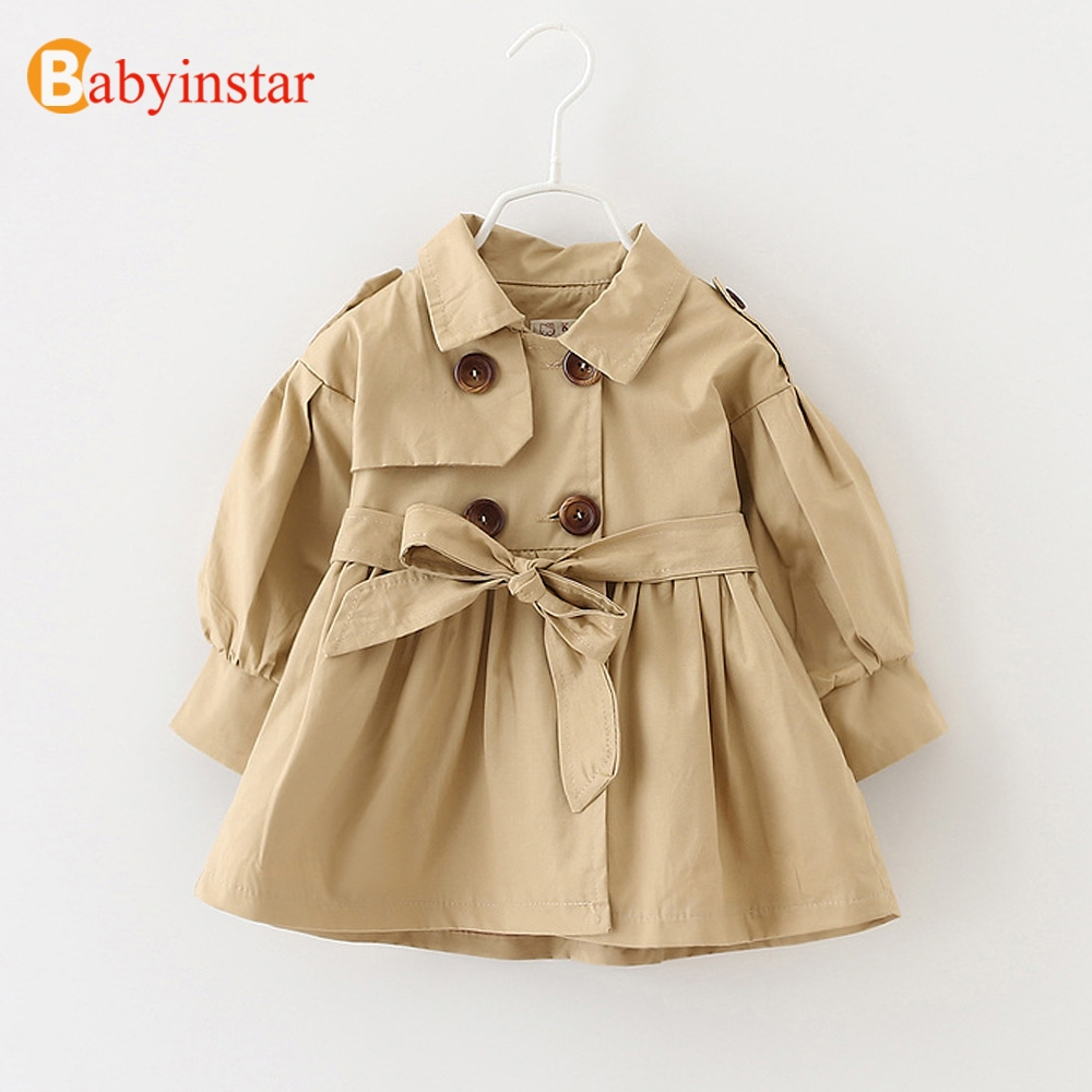 Babyinstar Spring Toddle Girl's Clothing Spring Fashion Trench Coat with Belt for Baby Girl's Tops Jacket Girl Outerwear & Coat fashion red longline coat with belt