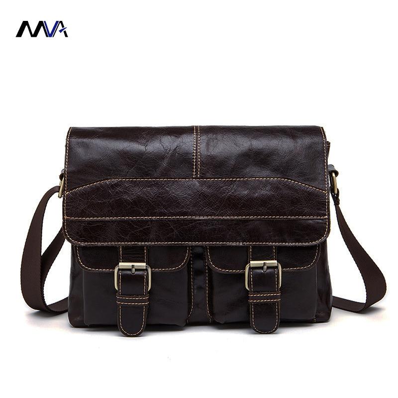 MVA Men Genuine Leather Bag Messenger Bag Leather Men Shoulder Crossbody Bags Casual Laptop Handbag Business Briefcase genuine leather shoulder bag men casual