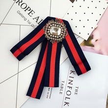 College Style bowtie Wedding Party Striped preal bowknot Women Bow Tie Classic Neck Wear diamond bowties Shirt Accessories