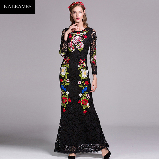 53025f6b06 Runway Black Lace Maxi Dress Summer Beautiful Full Sleeve Hollow Brand Flowers  Embroidery Slim Elegant Long Dress