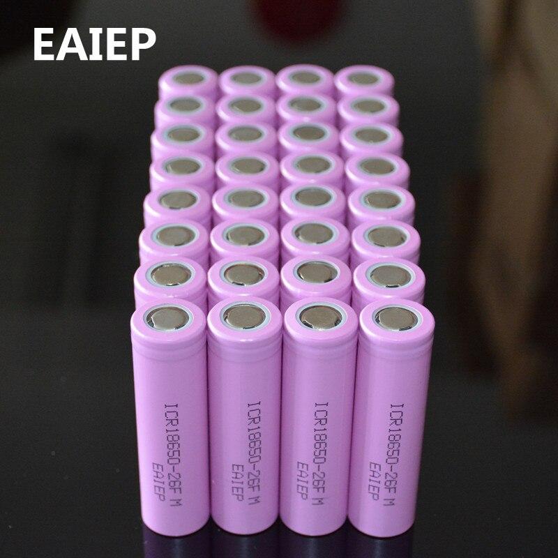 32 Pz/lotto Originale 18650 3.7V 2600mAh Li-Ion Batterie EAIEP Batteria Ricaricabile ICR18650-26FM Batterie Sicure Uso Industriale
