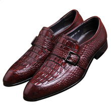 Crocodile grain brown tan black loafers dress shoes genuine leather business shoes mens wedding shoes with