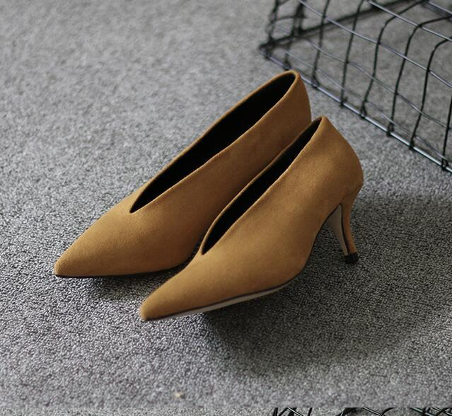 XGRAVITY 2018 Pop Star Pointed Toe Girl Thin Heel Woman Shoes Deep V Design Lady Fashion Shoes Elegant European Women Shoes C264