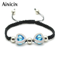 1pc Super High Quality Blue Glass Crystal CZ Setting Double Heart Charms Adjustable Bracelets Fashion Handmade Christmas Gift 3#