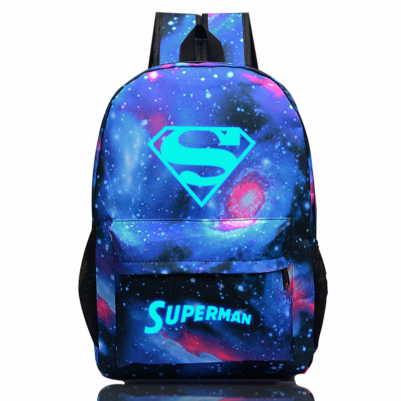Superman Luminous Fluorescent Printing Backpack Women men Casual Travel Rucksack Teenagers School Bag Drop Ship