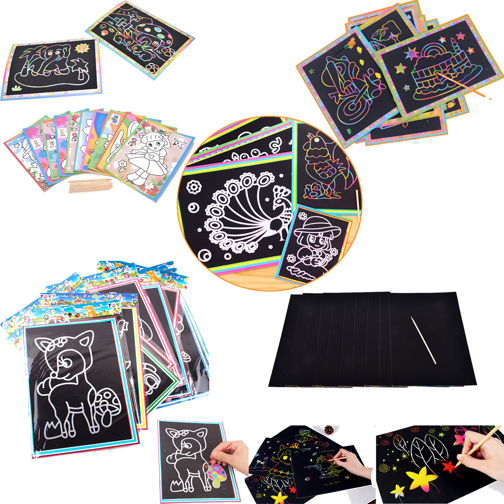 Scratch Scraping Book Art Magic Painting Paper Drawing Stick Kid Adult Toy best