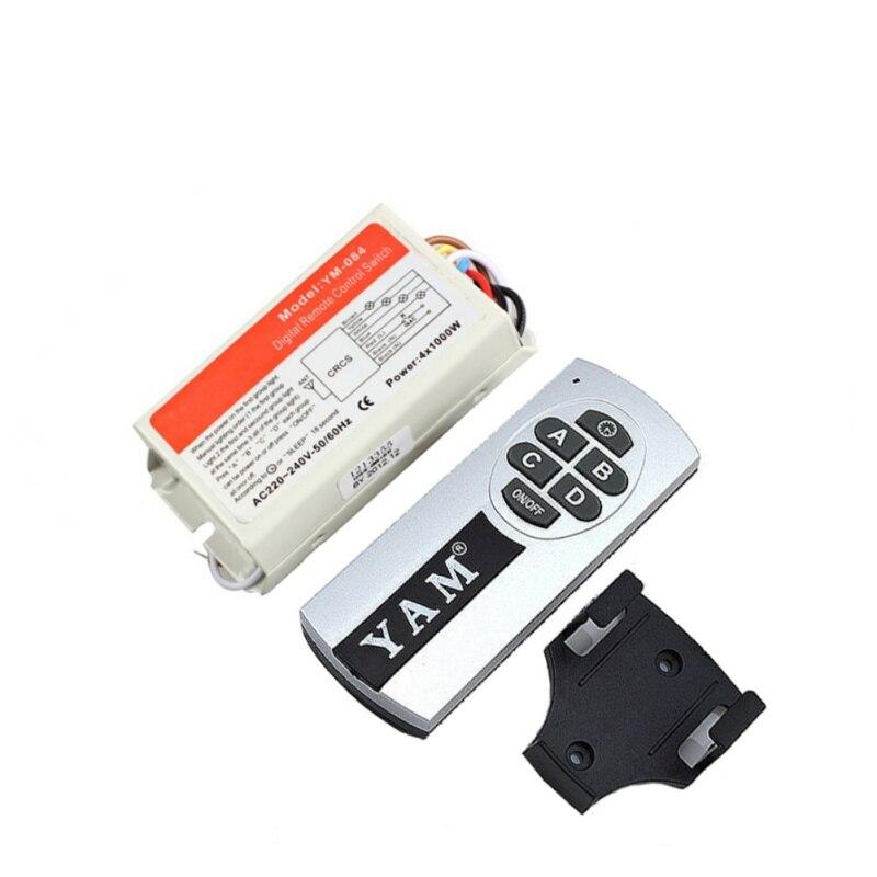 El más nuevo DIY 1/2/3/4 maneras 220 V remoto inalámbrico digital Control remoto interruptor ON/OFF interruptor de control para bombilla de alta calidad