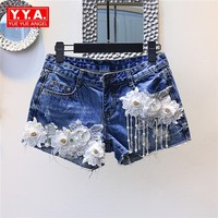 2018 Summer Pearls Tassel Lace Floral Pattern Frayed Denim Shorts Women Designs Beading Zipper Shorts Girls Short Jeans Female