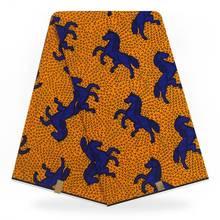 Latest African Fabrics,Blue Jump Horse Block Wax Print Cotton Fabrics /Kitenge/Pagnes/Kikwembe 6 yards YBGHL-304