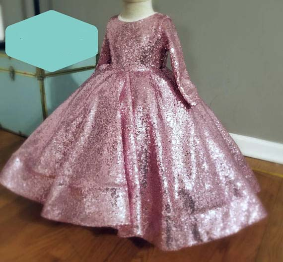 Sparkly Long sleeves blush pink bling sequins baby princess birthday party dresses ball gown toddler girl glitz pageant gown new elegant long sleeves knee length blush pink flower girls dresses glitz pageant dresses baby birthday party dress ball gowns