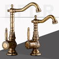 Brass Kitchen Faucet European Antique Faucet Retro Carved Basin Faucet Rotating Single Handle Single Hole Hot And Cold Water Tap