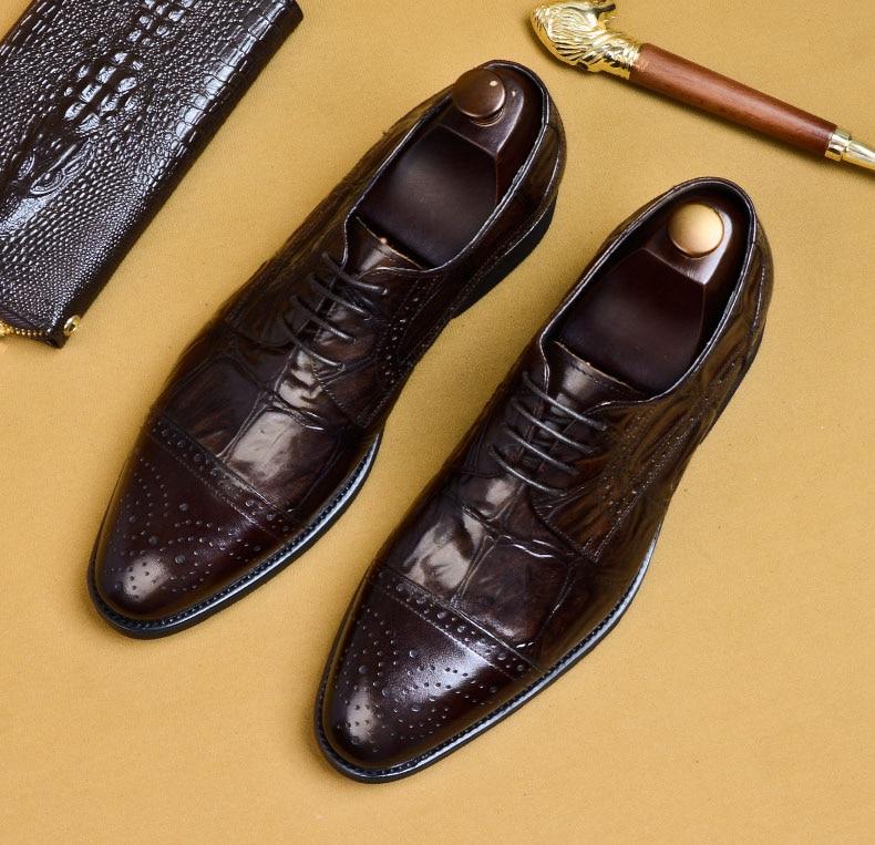 2019 Hot Handmade Designer Fashion Party Wedding Men Dress Shoes Genuine Leather Mens Oxford Formal Shoes EURO Size 46 in Formal Shoes from Shoes