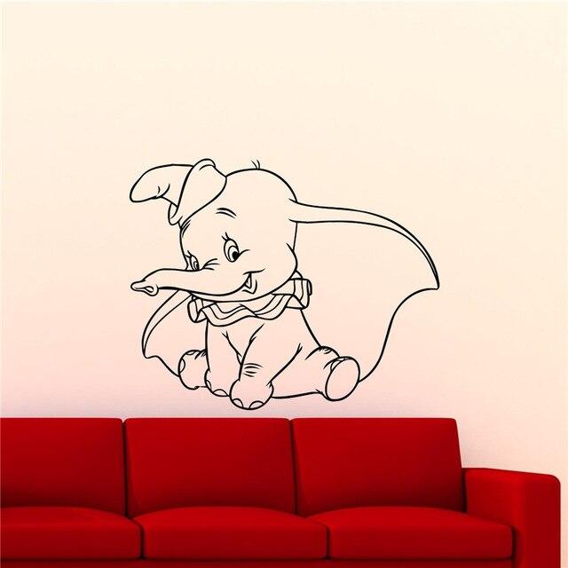 Dumbo Elephant Wall Vinyl Decal Custom Baby Name Cartoon Home Decor Kids Girl Boy Room Wall Sticker