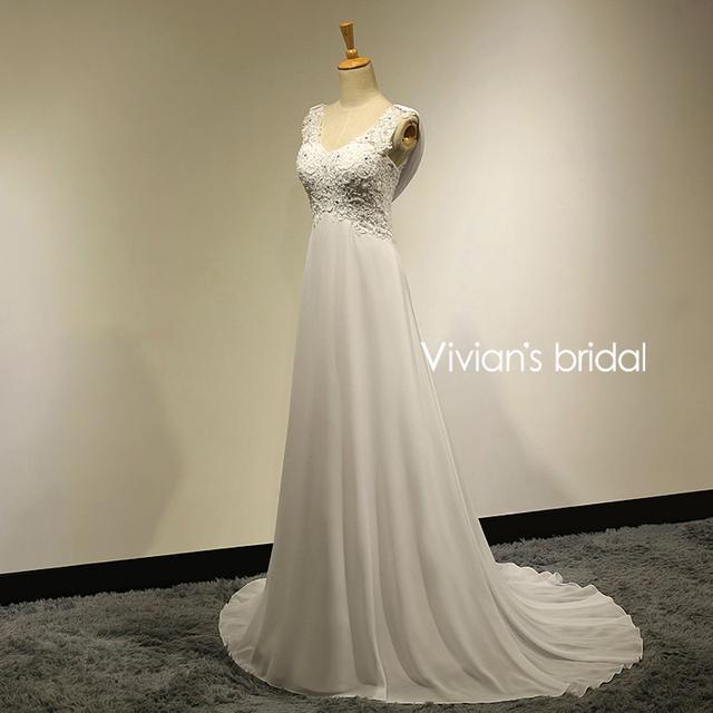 Sexy Lace Appliques Chiffon Beach Wedding Dress Boho