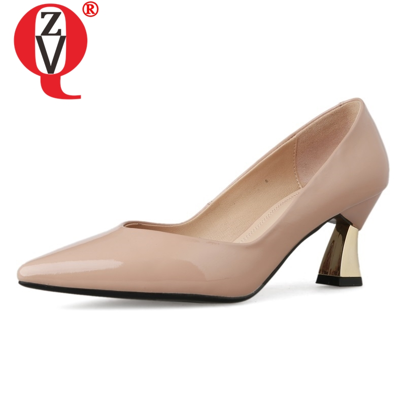 ZVQ shoes women spring new fashion sexy pointed toe patent leather women pumps outside shallow slip