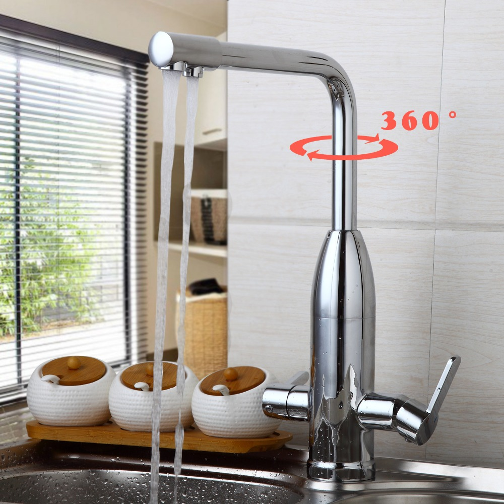 Hot and Cold Mixer Solid Double Levers Polished Chrome Kitchen Taps ...