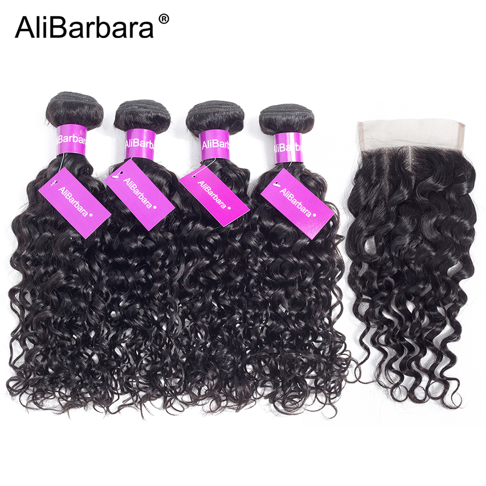Alibarbara Hair Brazilian Water Wave Bundles With Closure Remy Human Hair Bundles With Closure 5PCS/Lot Middle Part Can Dyed