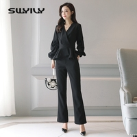 SWYIVY Women Pants Suits Spring Summer Blouses Wide Leg Pants Two Piece Sets Fashion Women Clothing