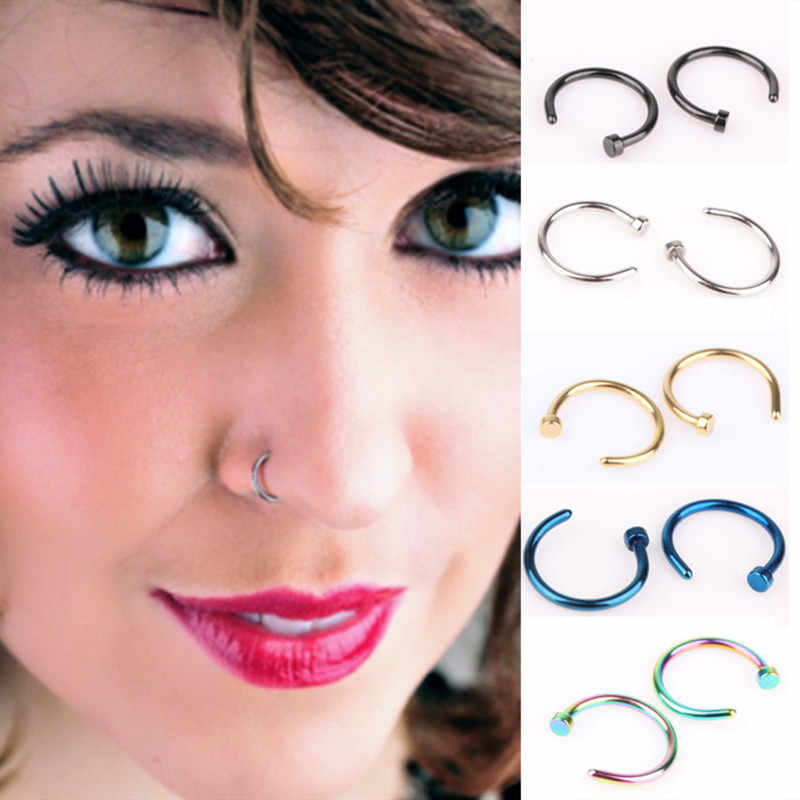 Fake Nose Ring Septum Medical Titanium  316L Stainless Steel Body Clip Hoop For Women Septum Piercing Clip Jewelry Gift 1pc 8mm
