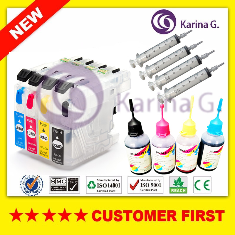 4X Empty Refillable Ink Cartridge For Brother LC663 and 4 bottles 50ml Dye ink  For Brother MFC-J2320 MFC-J2720 Printer