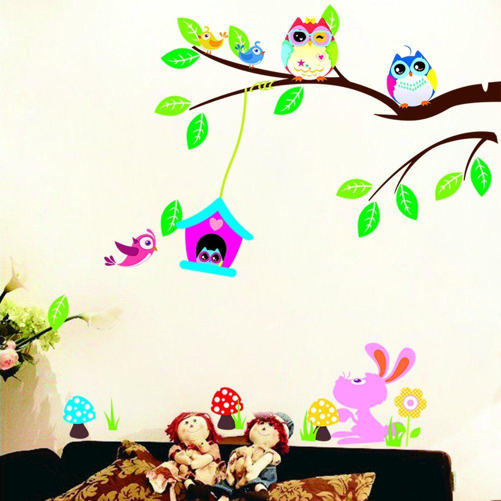 Kreatif Removable Hewan Kartun Bayi Anak Decals Seni Burung Lucu