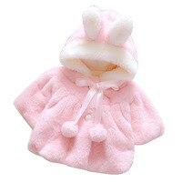 0 4Y Newborn Baby Girl Jacket Clothes Baby Fleece Animal Ribbon Balls Coat Infant Winter Party