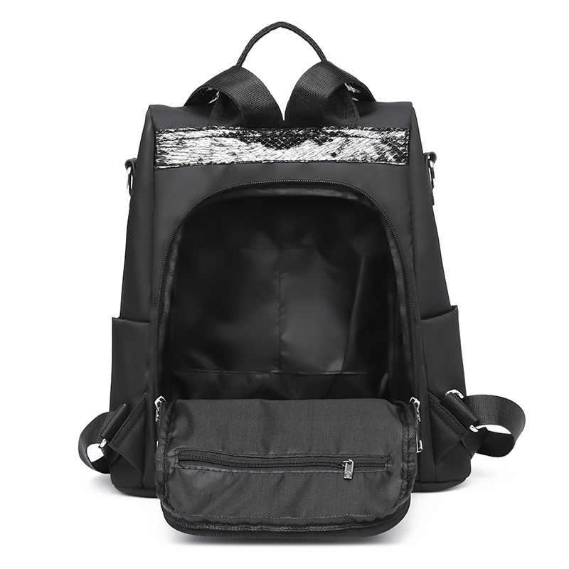 Stile semplice delle signore zaino anti-furto Oxford panno telone paillettes cuciture giovanile college di borsa della borsa Bagpack Mochila