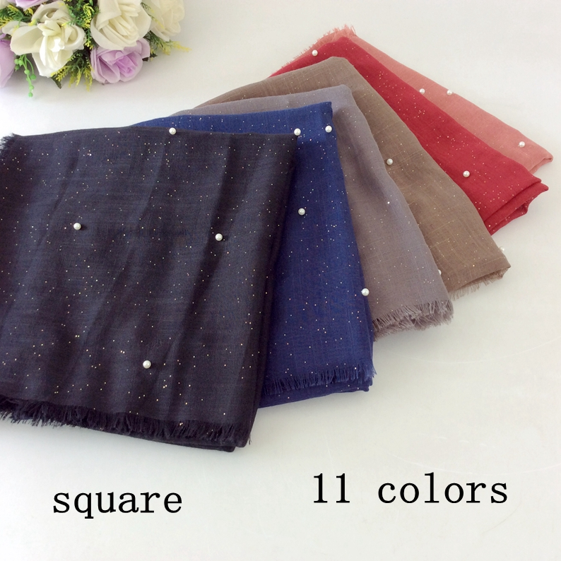 Glitter Square Shawls And Scarves Full Pearls Women Scarf Luxury Style 10pcs/lot