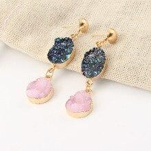 2019 Boho handmade resin crystal pink fairy earrings long bling gold for women girl elegant gift Chic jewelry wholesale