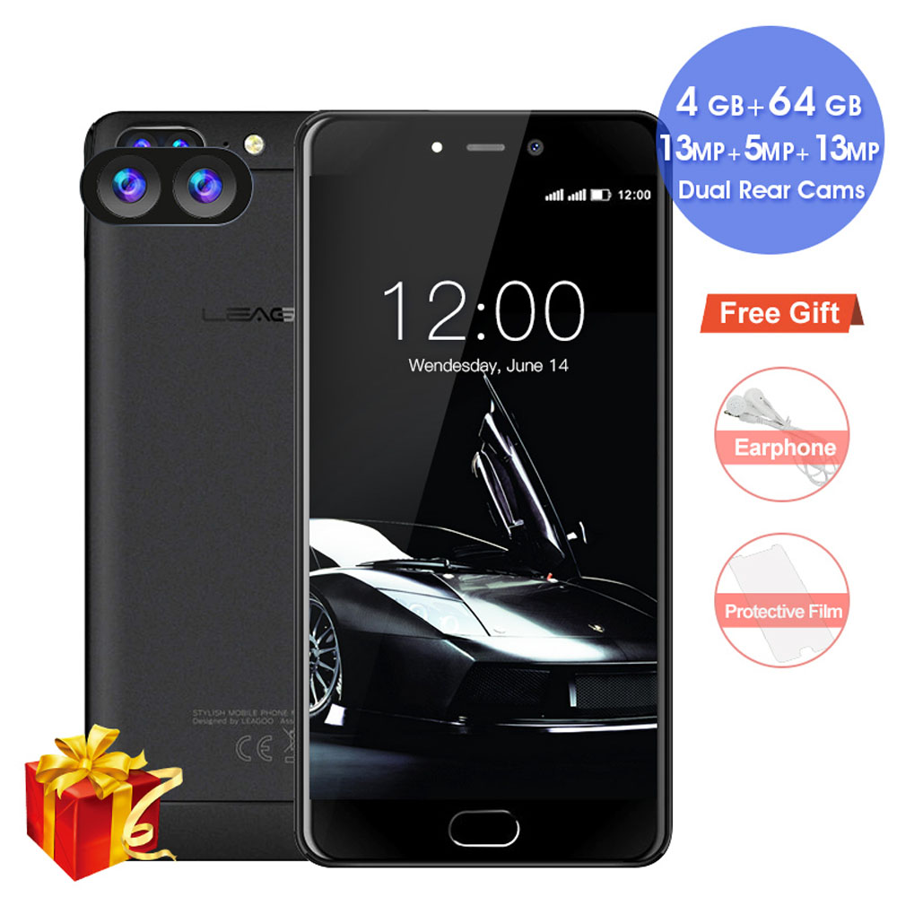LEAGOO T5 Android 7.0 5.5Inch FHD Smartphone 4GB RAM 64GB ROM MTK6750T Octa Core 13MP Dual Rear Cams Fingerprint 4G Mobile Phone
